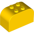 LEGO Yellow Brick 2 x 4 x 2 with Curved Top (4744)