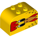 LEGO Yellow Brick 2 x 4 x 2 with Curved Top with chicken face (82606)