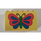 LEGO Yellow Brick 2 x 6 x 3 with Butterfly