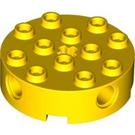 LEGO Yellow Brick 4 x 4 Round with Holes (6222)