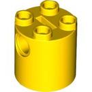 LEGO Yellow Brick Round 2 x 2 x 2 with Bottom Axle Holder 'x' Shape '+' Orientation (30361)
