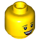 LEGO Yellow Child with Bright Pink Top Plain Head (Recessed Solid Stud) (21463)