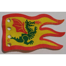 LEGO Yellow Cloth Flag 8 x 5 Wave with Red Border and Green Dragon Pattern