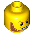 LEGO Yellow Crook Head with Dark Orange Beard and Missing Tooth (Recessed Solid Stud) (20234)
