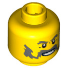 LEGO Yellow Dark Green Wizard Chess King Castle Head (Recessed Solid Stud) (64902 / 96959)