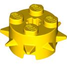 LEGO Yellow Design Brick 2 x 2 x 1 Circle with Spikes (27266)
