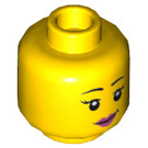 LEGO Yellow Dual Sided Female Black Eyebrows, Pink Lips, Eyelashes / Sunglasses with Purple Frames Pattern - Stud Recessed (Recessed Solid Stud) (20068)
