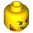 LEGO Yellow Dual Sided Head with Angry Scowl with Dark Red Beard/Stubble (Recessed Solid Stud) (14352 / 16692)