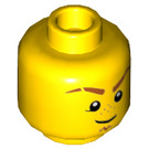 LEGO Yellow Dual-Sided Minifig Head with Dark Orange Eyebrows and Goatee (Recessed Solid Stud) (23772)