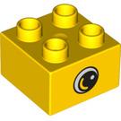 LEGO Yellow Duplo Brick 2 x 2 with Eye Decoration (74738)