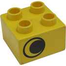 LEGO Yellow Duplo Brick 2 x 2 with eye looking right and missing white spot