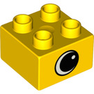 LEGO Yellow Duplo Brick 2 x 2 with Eye on two sides and white spot (82061)