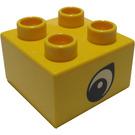 LEGO Yellow Duplo Brick 2 x 2 with point on eye