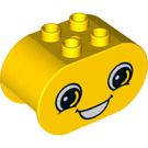 LEGO Yellow Duplo Brick 2 x 4 x 2 with Rounded Ends with Decoration (24438)