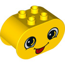 LEGO Yellow Duplo Brick 2 x 4 x 2 with Rounded Ends with Decoration (24440)
