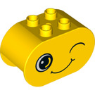 LEGO Yellow Duplo Brick 2 x 4 x 2 with Rounded Ends with Decoration (24441)