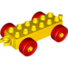 LEGO Yellow Duplo Car Chassis 2 x 6 with Red Wheels (10715 / 14639 / 74656)
