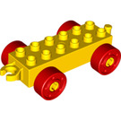 LEGO Yellow Duplo Car Chassis 2 x 6 with Red Wheels and Open Hitch End (10715 / 14639 / 74656)