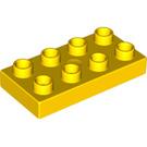 LEGO Yellow Duplo Plate 2 x 4 (4538 / 40666)