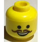 LEGO Yellow Emmet Head With Brown Moustache (Recessed Solid Stud)