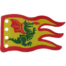 LEGO Yellow Fabric Flag 8 x 5 Wave with Red Border and Green Dragon Pattern (Single-Side Print)