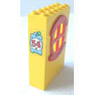 LEGO Yellow Fabuland Building Wall 2 x 6 x 7 with Red Round Symmetric Window with '54' Sticker from Set 3654