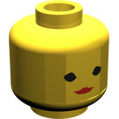 LEGO Yellow Female Head with Red Lipstick (Safety Stud)