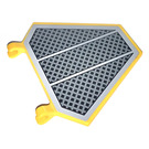 LEGO Yellow Flag 5 x 6 Hexagonal with Diagonal Grille Pattern Sticker with Thick Clips