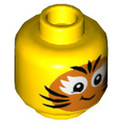 LEGO Yellow Girl with Tiger Face Painted Plain Head (Recessed Solid Stud) (56825)