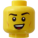 LEGO Yellow Head, Dual Sided, Black Brows, Open Eyes, Wide Smile and Cheeklines /  Closed Eyes and Lopsided Open Mouth (Recessed Solid Stud) (Recessed Solid Stud)