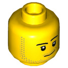 LEGO Yellow Head Male with Smirk and Beard Stubble (Recessed Solid Stud) (37487)