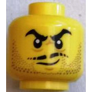 LEGO Yellow Head with Beard and Moustache decoration (Recessed Solid Stud)
