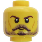 LEGO Yellow Head with brown eyebrows, tan moustache and beard (Recessed Solid Stud)