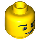 LEGO Yellow Head with Raised Eyebrow and Crooked Smile (Recessed Solid Stud) (12813)