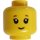 LEGO Yellow Head with Reddish Brown, Short Eyelashes and Small Smile (Recessed Solid Stud) (Recessed Solid Stud)