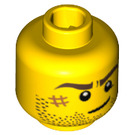 LEGO Yellow Head with Stubble, Scare right and Crooked Smile (Recessed Solid Stud) (10260 / 14759 / 94063)