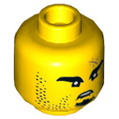 LEGO Yellow Head with Stubble, Small Beard and Scar (Recessed Solid Stud) (34089)