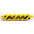 LEGO Yellow Hinge Brick 1 x 6 Locking Double with Danger stripes and 'MAX-550RPM' on both sides Sticker