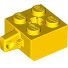 LEGO Yellow Hinge Brick 2 x 2 Locking with 1 Finger Vertical ('X' Axle Hole) (30389)
