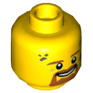 LEGO Yellow Male Firefighter Minifigure Head with Beard and Soot Stains (Recessed Solid Stud) (24405)
