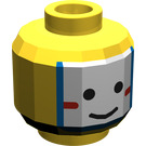LEGO Yellow Minifig Head with Islander White/Blue Painted Face (Safety Stud)