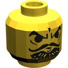 LEGO Yellow Minifig Head with Villian Black Facial Hair (Safety Stud)