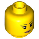 LEGO Yellow Minifigure Female Head with Pink Lips (Recessed Solid Stud) (10261 / 14927 / 19541)