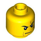 LEGO Yellow Minifigure Head Frowning with Scar across Left Eye (Safety Stud) (93618 / 94053)