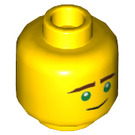 LEGO Yellow Minifigure Head (Lloyd) with Brown Eyebrows, Green Eyes, Lopsided Smile / Concerned Dual Expression (Recessed Solid Stud) (34547)
