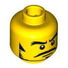 LEGO Yellow Minifigure Head Stern Expression with Black Sideburns and Moustache (Safety Stud) (93412)
