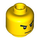 LEGO Yellow Minifigure Head with Angry Scowl (Recessed Solid Stud) (13794 / 93621 / 94054)