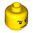 LEGO Yellow Minifigure Head with Angry Smirk Expression (Safety Stud) (14783 / 19542 / 52518)