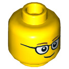 LEGO Yellow Minifigure Head with Black and White Glasses (Safety Stud) (13629 / 21025 / 46506)