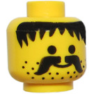 LEGO Minifigure Head with Black Moustache and Stubble (Solid Stud)